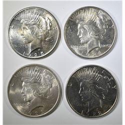 1922, 23, 24 & 25 AU/BU PEACE DOLLARS