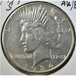 1934-S PEACE DOLLAR, AU/BU