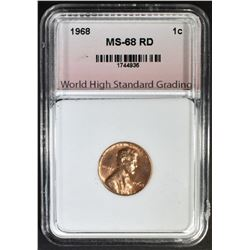 1968 LINCOLN CENT, WHSG SUPERB GEM BU+ RED