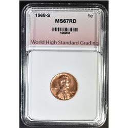 1968-S LINCOLN CENT, WHSG SUPERB GEM BU RED