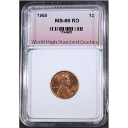 1969 LINCOLN CENT, WHSG SUPERB GEM BU+ RED