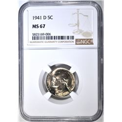 1941-D JEFFERSON NICKEL NGC MS-67