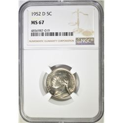 1952-D JEFFERSON NICKEL NGC MS-67