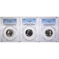 1965, 66 & 67 SMS WASH. QUARTERS, PCGS SP-67