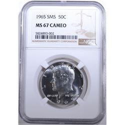 1965 SMS KENNEDY HALF DOLLAR, NGC MS-67 CAMEO