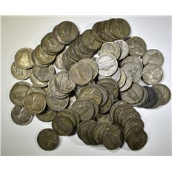 "100-CIRC SILVER JEFFERSON ""WAR"" NICKELS"