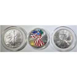 3-2000 AMERICAN SILVER EAGLES IN CAPS