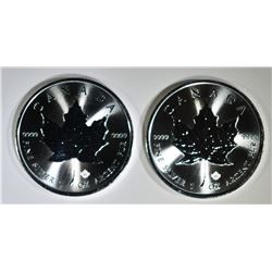2-2020 GEM BU CANADA SILVER MAPLE LEAF COINS