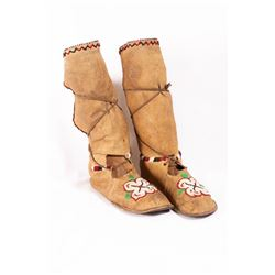 Crow Beaded High Top Woman's Moccasins