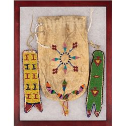 Northern Plains Beaded Items, Framed