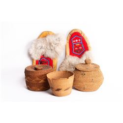 Group of three baskets, beaded moccasins