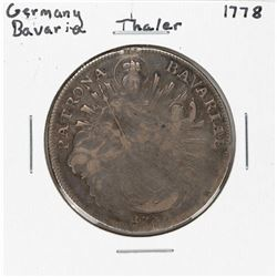 1778 Germany Bavaria Thaler Silver Coin