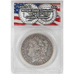 1894-S $1 Morgan Silver Dollar Coin ANACS Certified Genuine