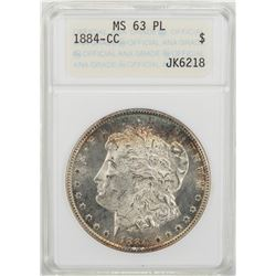 1884-CC $1 Morgan Silver Dollar Coin ANACS MS63 PL
