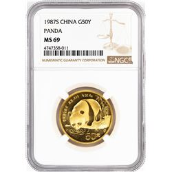 1987-S China 50 Yuan Gold Panda Coin NGC MS69
