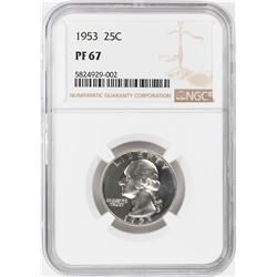 1953 Proof Washington Quarter Coin NGC PF67