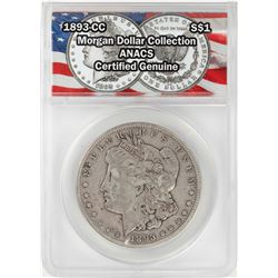 1893-CC $1 Morgan Silver Dollar Coin ANACS Certified Genuine