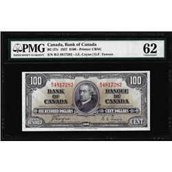 1937 $100 Bank of Canada Note BC-27c PMG Uncirculated 62