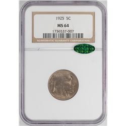 1925 Buffalo Nickel Coin NGC MS64 CAC