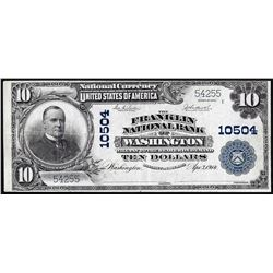 1902 PB $10 Franklin NB of Washington, DC CH# 10504 National Currency Note