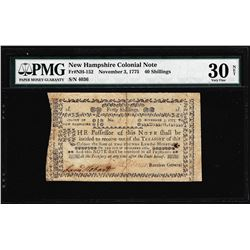November 3, 1775 New Hampshire 40 Shillings Colonial Note PMG Very Fine 30 Net