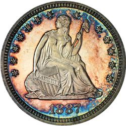1887 Seated Liberty Quarter Coin Amazing Toning