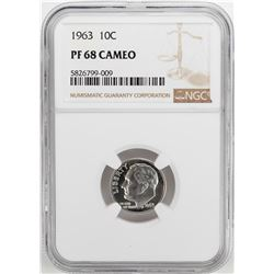 1963 Proof Roosevelt Dime Coin NGC PF68 Cameo