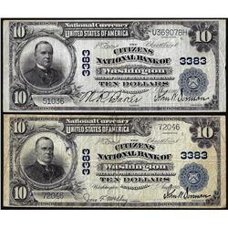 Lot of (2) 1902 PB $10 Citizens NB of Washington, PA CH# 3383 National Currency Notes
