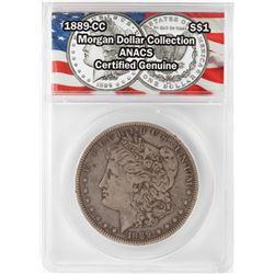 1889-CC $1 Morgan Silver Dollar Coin ANACS Certified Genuine