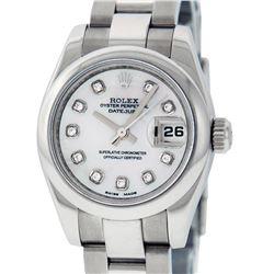 Rolex Ladies Stainless Steel MOP Diamond Quickset Datejust Wristwatch With Rolex Box