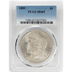 1889 $1 Morgan Silver Dollar Coin PCGS MS65
