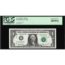 Fancy Serial # 1993 $1 Federal Reserve STAR Note Fr.1918-F* PCGS Superb Gem New 68PPQ