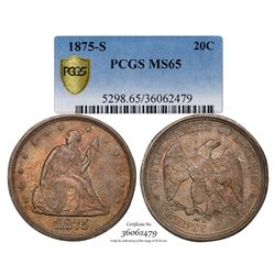 1875-S Twenty Cent Piece Coin PCGS MS65