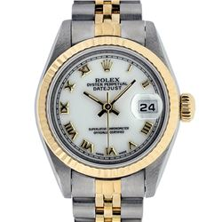 Rolex Ladies Quickset Two Tone 18K MOP Roman Datejust Wristwatch