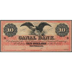 1800's $10 Canal Bank New Orleans, Louisiana Obsolete Note