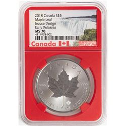2018 Canada $5 Maple Leaf Silver Coin NGC MS70 Incuse Design
