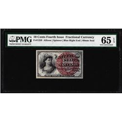 1863 Ten Cents Fourth Issue Fractional Note Fr.1259 PMG Gem Uncirculated 65EPQ