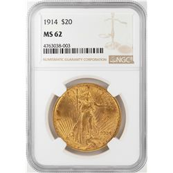 1914 $20 St. Gaudens Double Eagle Gold Coin NGC MS62