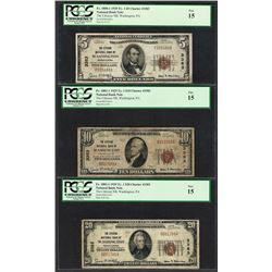 1929 $5/10/20 Citizens NB Washington, PA CH# 3383 National Currency Notes PCGS F15