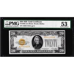 1928 $20 Gold Certificate Note Fr.2402 PMG Choice About Uncirculated 53
