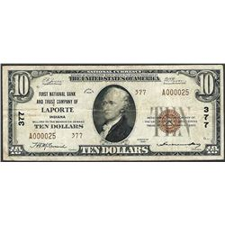 1929 $10 First NB & Trust of LaPorte, IN CH# 377 National Currency Note Low Serial #
