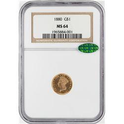 1880 $1 Indian Princess Head Gold Dollar Coin NGC MS64 CAC
