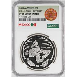 2000Mo Mexico Proof 5 Pesos Butterfly Silver Coin NGC PF68 Ultra Cameo