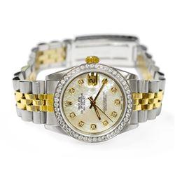 Rolex Ladies Datejust 18KT Yellow Gold & Steel 31mm MOP Diamond Dial Watch