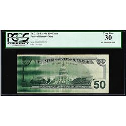1996 $50 Federal Reserve Note Fr.2126-L Ink Smear Error PCGS Very Fine 30