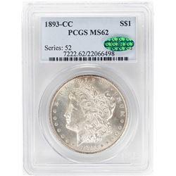 1893-CC $1 Morgan Silver Dollar Coin PCGS MS62 CAC
