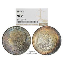 1884 $1 Morgan Silver Dollar Coin NGC MS64 Amazing Toning