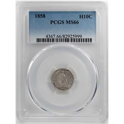 1858 Seated Liberty Half Dime Coin PCGS MS66