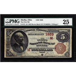 1882 BB $5 Shelby, Ohio CH#1929 National Currency Note PMG Very Fine 25