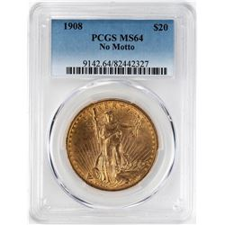 1908 No Motto $20 St. Gaudens Double Eagle Gold Coin PCGS MS64